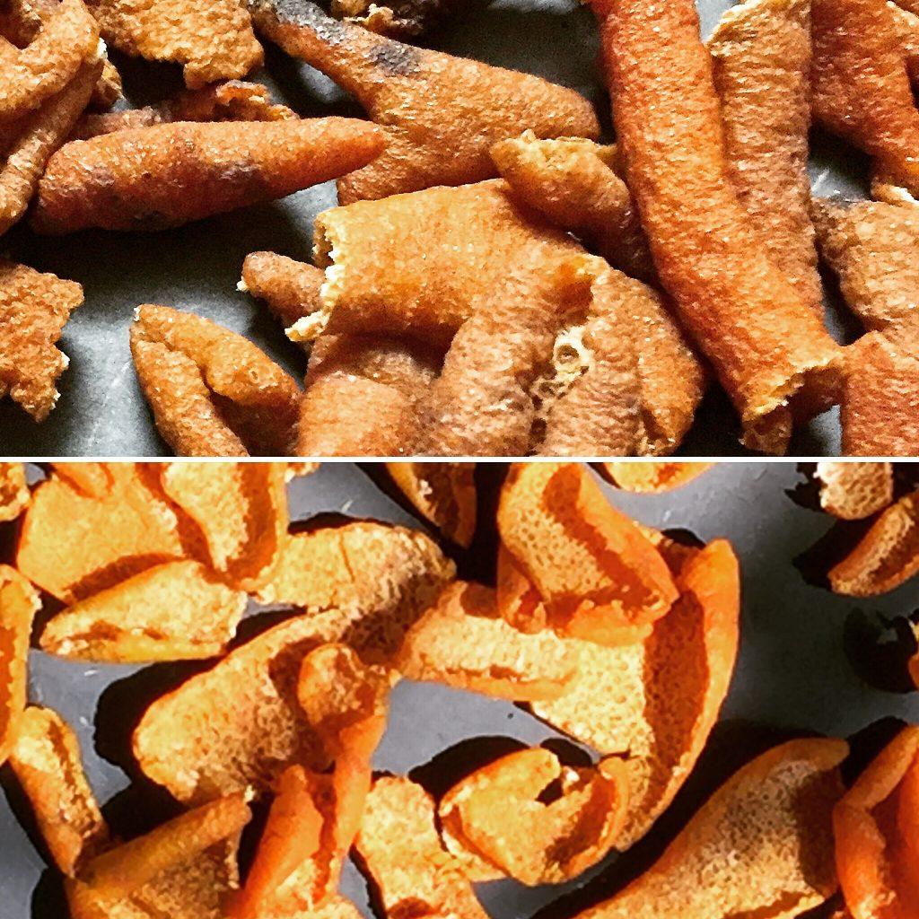Top: sun dried peels Bottom: fresh peels
