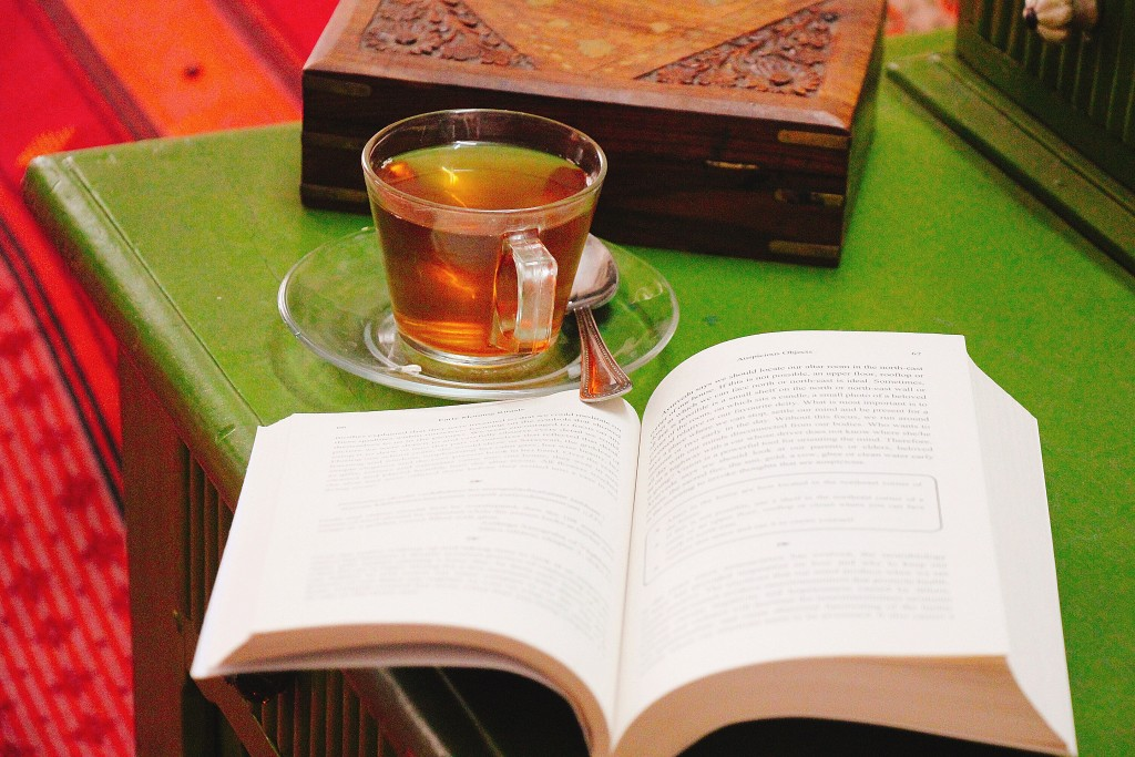 A quiet morning tea, may be with a book.
